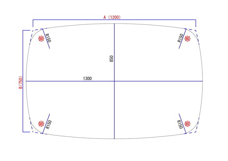 曲線のみでつくるダイニングテーブル図面