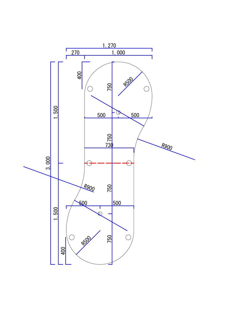 2枚のテーブルを繋いだひょうたん型図面