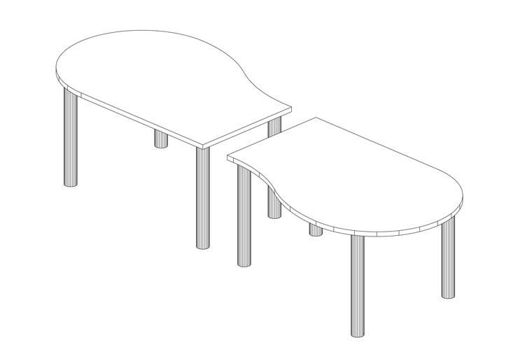 2枚の天板を繋いだひょうたん型立体図面