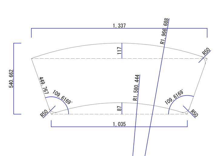 扇子型変形天板図面