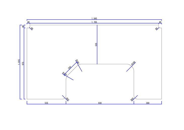 凹型パソコンデスク用天板