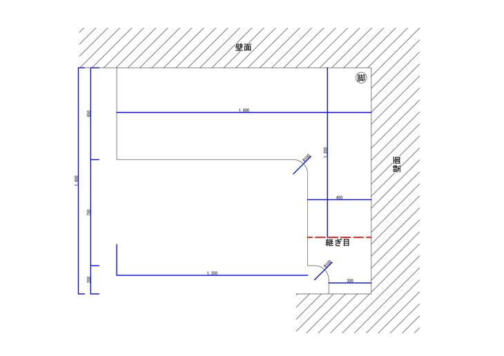 3面壁に合わせたL字型カウンターデスク天板