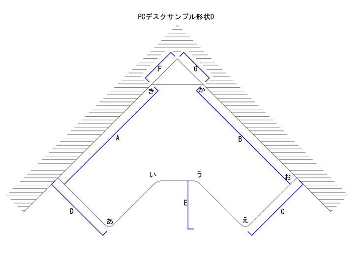 PCデスクサンプル形状D図面
